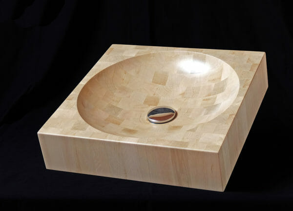 Vasque de bois de bout carrée