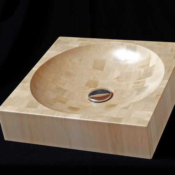 Vasque de bois de bout carrée, pour salle de bain