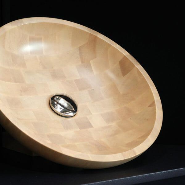 Vasque de bois de bout ronde, pour salle de bain